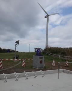 風力発電の宮川公園にはバイクスタンドが設置