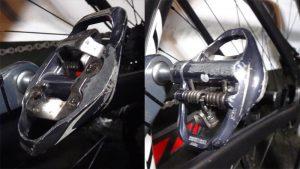 シマノPD-A600はロード用ビンディングペダルだが、クリートはMTB用SPDクリートを使う。 ただしMTB用ペダルと違って、ロード用ペダルと同じように片面のみを使用する。